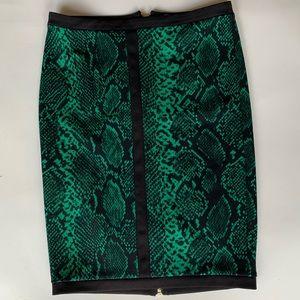 Sleek pencil animal print skirt zip back